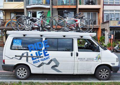 Doprovodné vozidlo s koly Giant na Taiwanu
