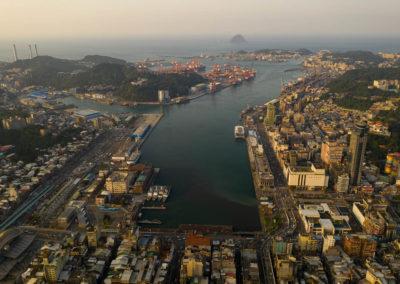 Pohled na přístav Keelung na ostrově Taiwan
