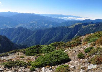 Panoramatické výhledy z vrcholu druhé nejvyšší hory Taiwanu