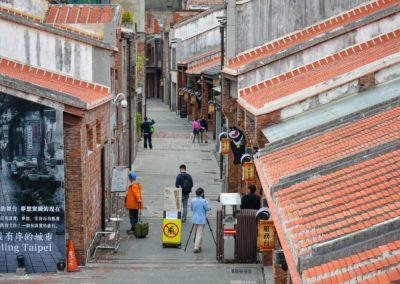 Historické budovy a stará ulička Bopiliao v Taipei