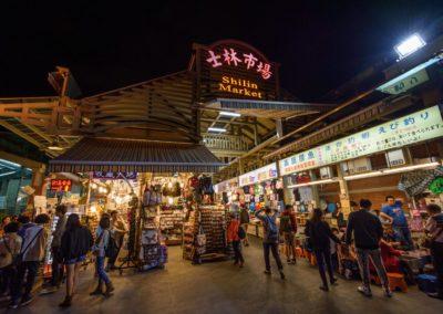 Vstup na noční trh Shilin na severu Taipei