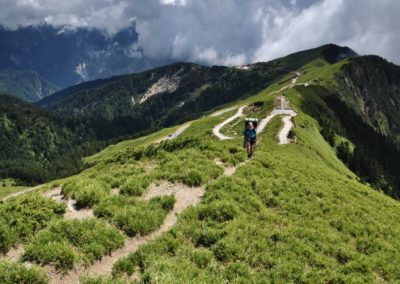 Vysokohorská turistika v pohoří Hehuanshan na Taiwanu