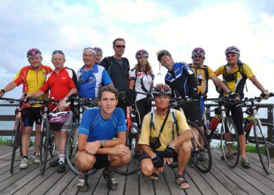 Skupina cyklistů na Taiwanu