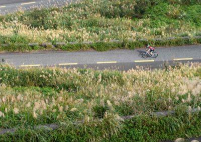 Silniční cyklista na horách Taiwanu
