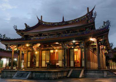 Konfuciův chrám v Taipei po západu slunce