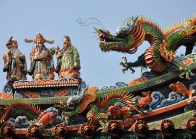 Výzdoba čínských chrámů v Tchaj-pej