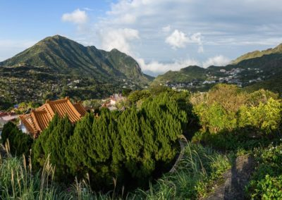 Panorama krajiny v okolí vesnice Jiufen a Jinguashi