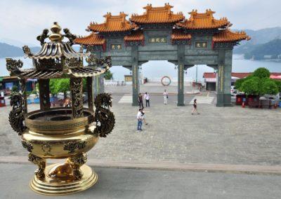 Chrám Wenwu vysoko nad jezerem Slunce a měsíce na Tchaj-wanu