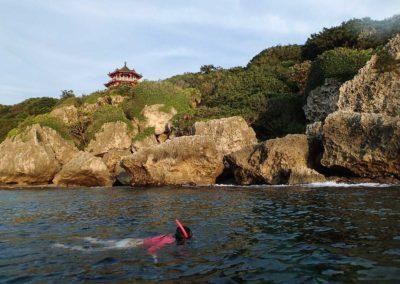 Šnorchlování v korálovém moři na Taiwanu